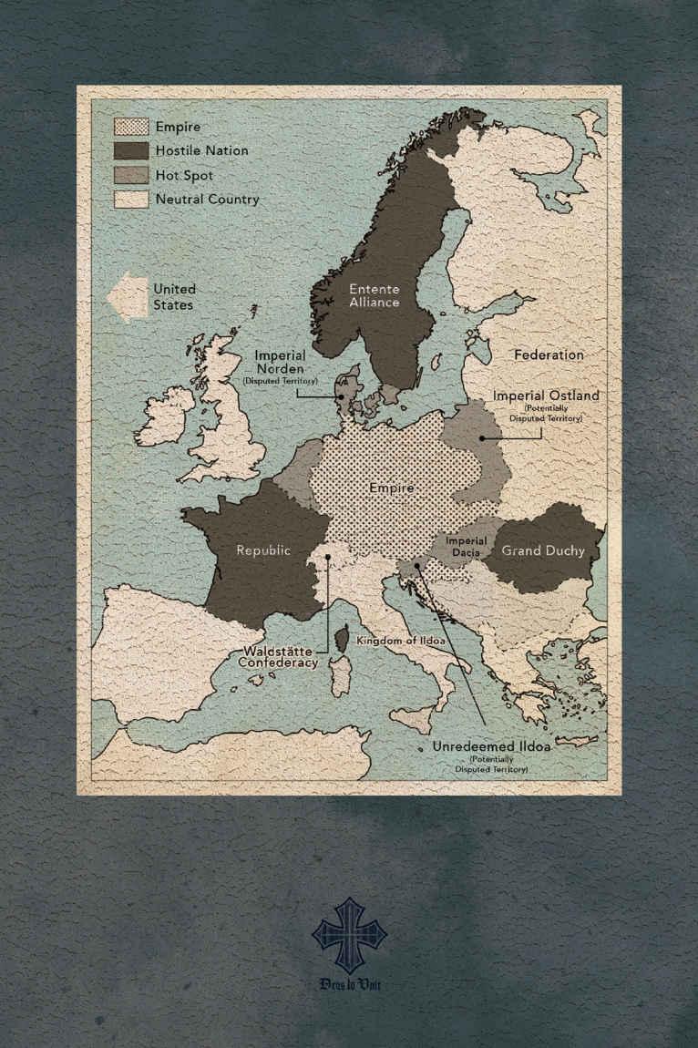 Mapa del Volumen 1 de The Saga of Tanya the Evil: Deus lo Vult.
