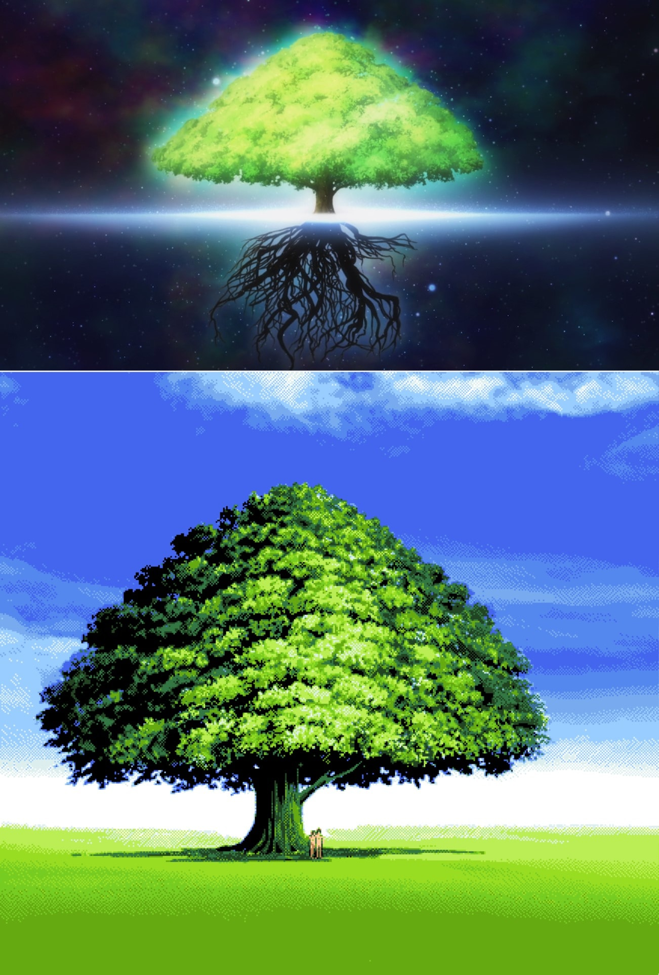Comparación entre la VN y el anime de YU-NO