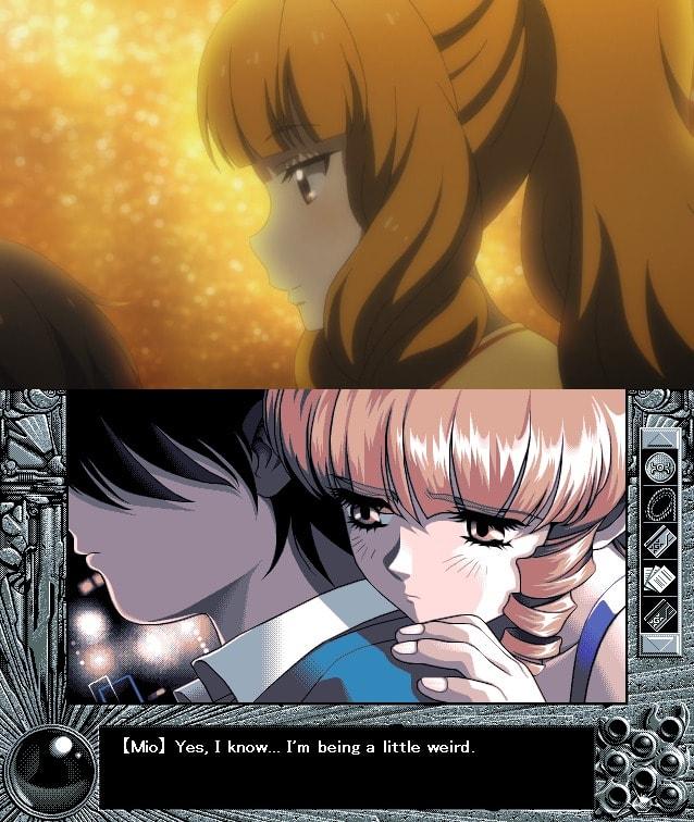 Escena emotiva entre Mio y Takuya YU-NO