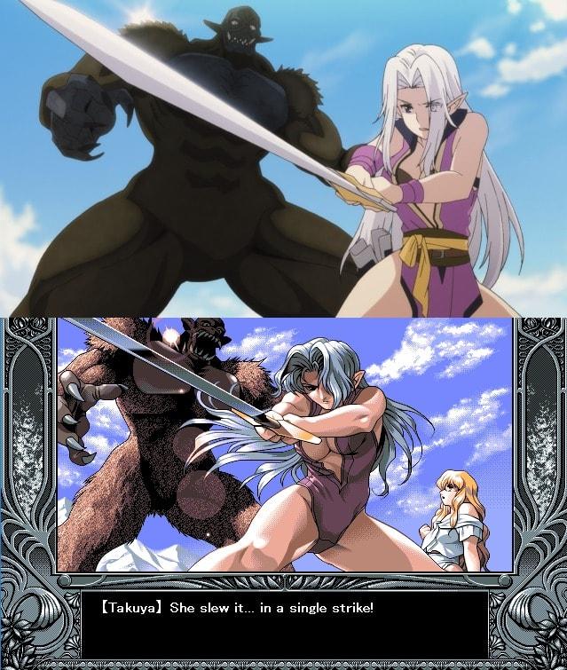 Ailia combatiendo a un monstruo YU-NO