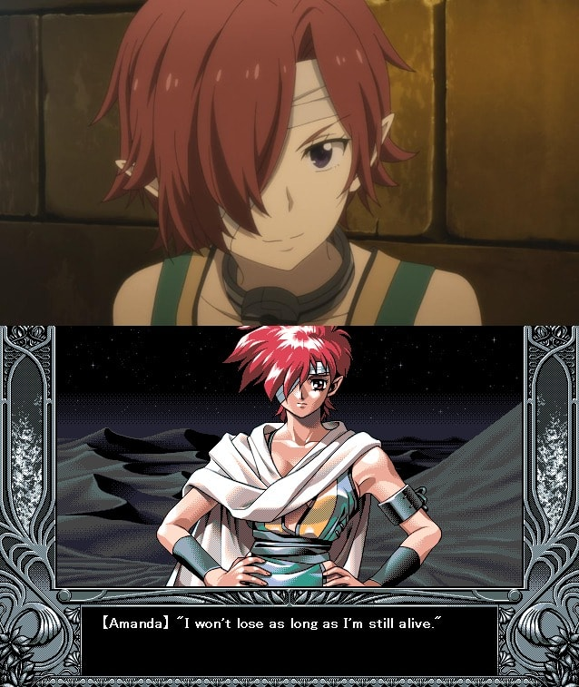 Amanda Yu-No visual novel anime comparativa