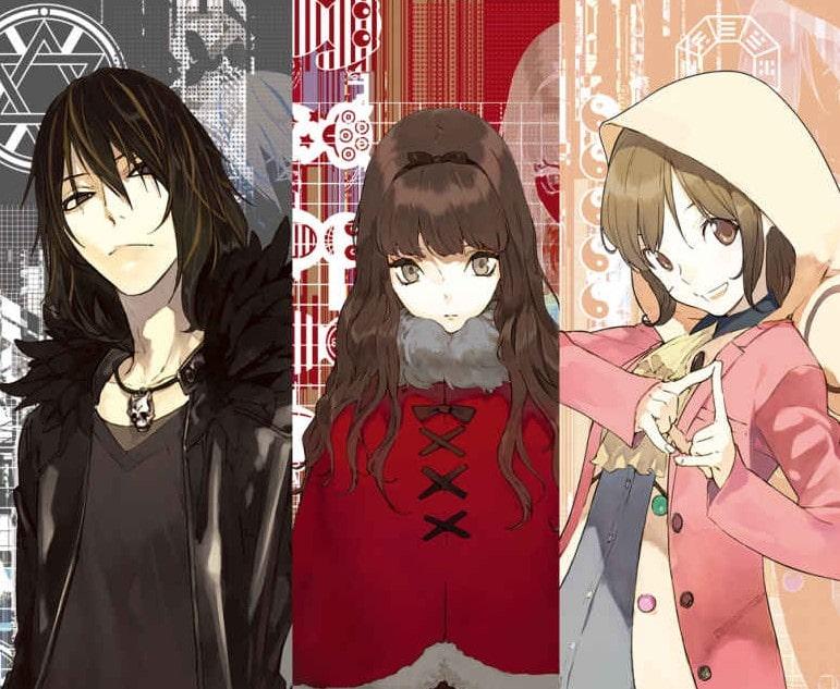 """De izquierda a derecha, Kiryu Kusakabe (versado en experiencias extracorporales y cobrador de deudas), Aria Kurenaino (practicante de magia negra) y Miyuu Aikawa (adivina e """"idol"""" estudiantil). Occultic;Nine"""