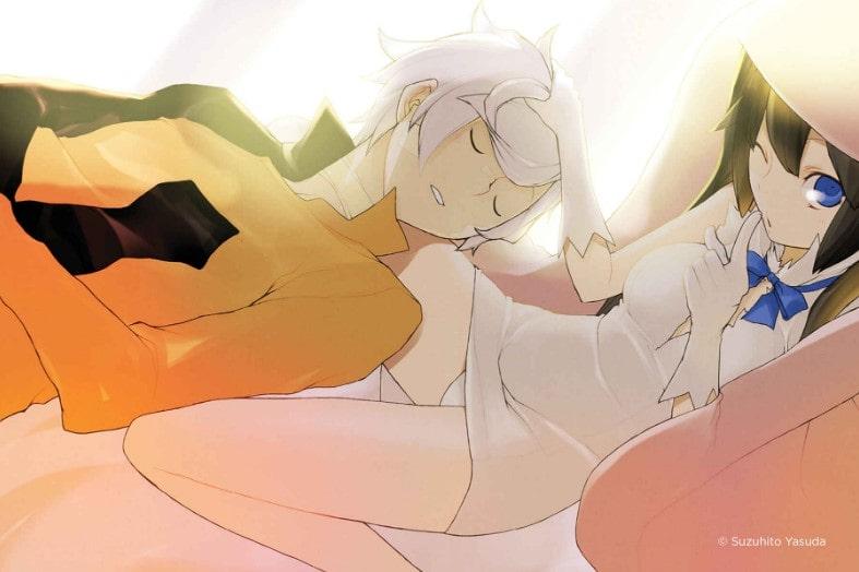 """Ilustración del Vol. 3 de """"DanMachi"""" que muestra a Bell Cranel y a la diosa Hestia, obra de Suzuhito Yasuda."""