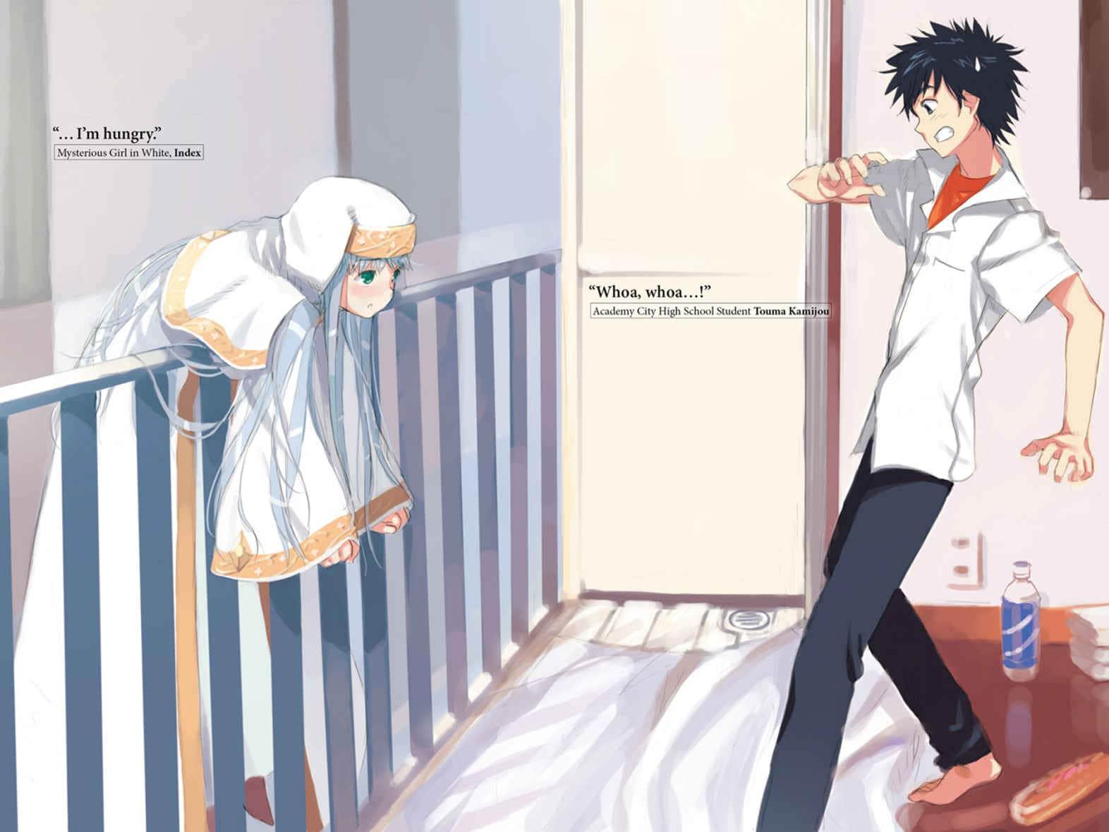 """La icónica escena en la que se conocen Index y Touma Kamijou. Pertenece al primer volumen de """"A Certain Magical Index"""". Toaru Majutsu no Index"""