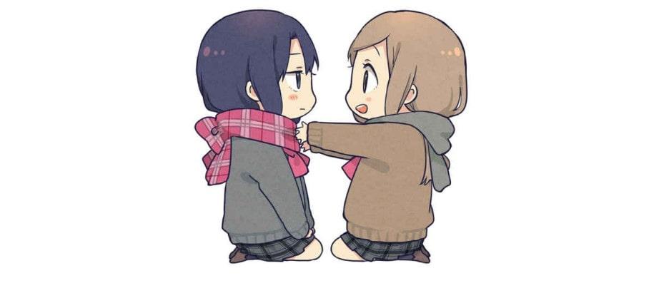 """Uno de los muchos adorables dibujos """"chibis"""" que aparecen en las novelas ligeras de """"Adachi to Shimamura""""."""