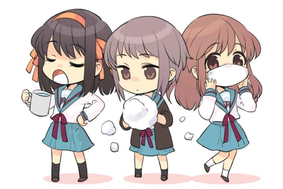 """Dibujos """"chibis"""" de Haruhi Suzumiya, Yuki Nagato y Mikuru Asahina realizados por Noizi Ito. Pertenecen al último volumen de la franquicia, """"La intuición de Haruhi Suzumiya""""."""
