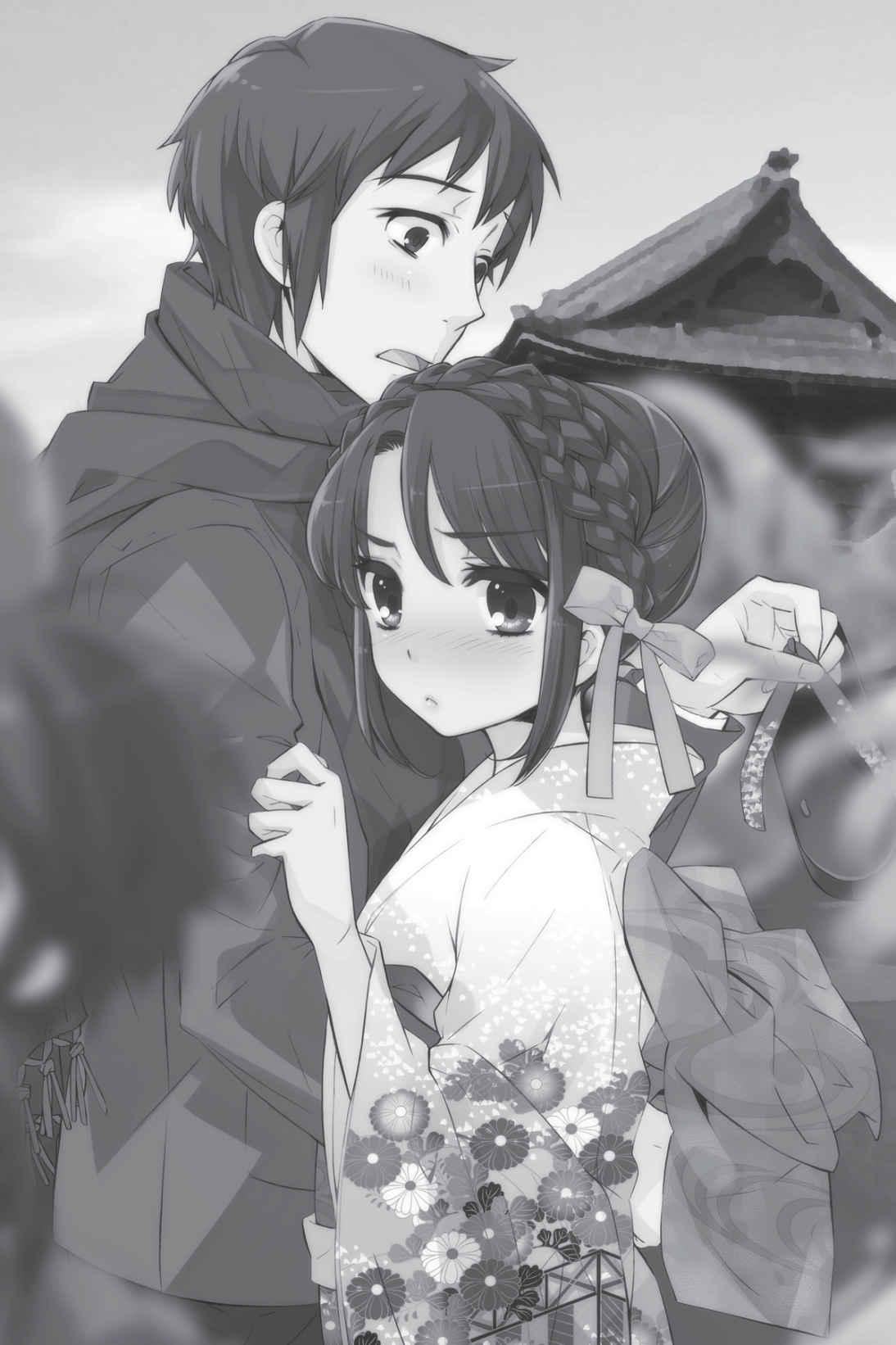 Kyon y Haruhi acaramelados. Ilustración de Noizi Ito para las novelas ligeras.