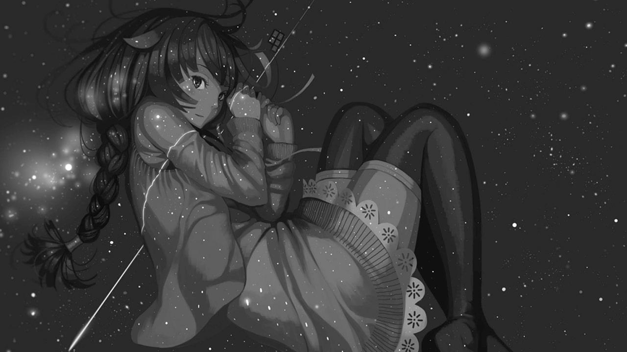 """Hitagi Senjogahara en """"Owarimonogatari 03"""" (""""End Tale 03""""), concretamente de la parte """"Hitagi Rendezvous"""". Ilustración obra de VOFAN."""