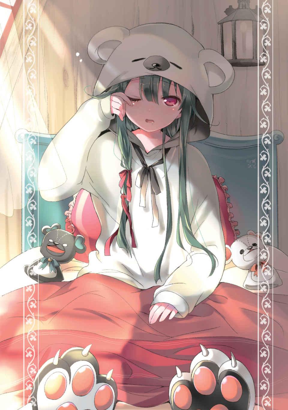 """Ilustración de Yuna que aparece en el Vol. 2 de """"Kuma Kuma Kuma Bear"""", obra de 029. Si te gustan las chicas """"cutes"""" de anime, has llegado al lugar indicado."""