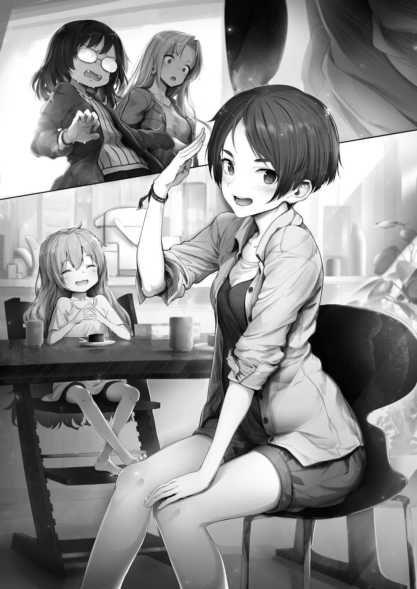 """Una de las muchas ilustraciones que aparecen en los volúmenes de """"Otherside Picnic"""". En primer plano, Akari seto, y detrás de ella Kozakura."""