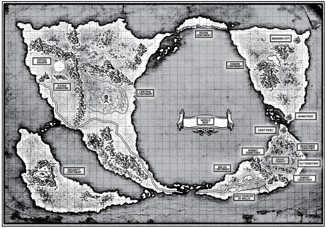 """Mapa del mundo de """"Mushoku Tensei: Isekai Ittara Honki Dasu"""" que aparece en las novelas ligeras originales."""