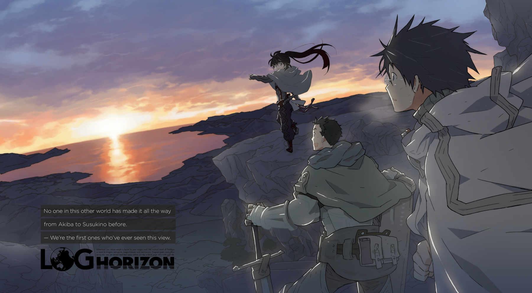 """Ilustración del Vol. 1 de """"Log Horizon"""", obra de Kazuhiro Hara, en la que aparecen los personajes principales Shiroe, Naotsugu y Akatsuki."""